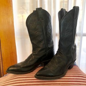 Justin Black Leather Cowboy Cowgirl Western Boots